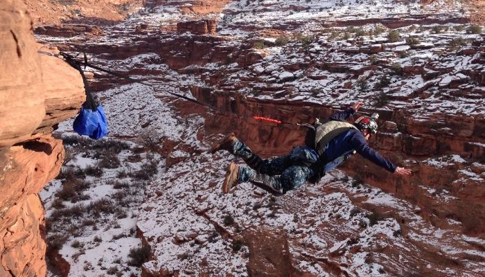 Andy BASE jumping in Moab, Utah
