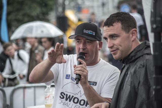 Regan announcing at the Swoop Challenge