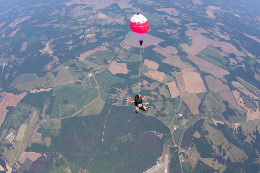Tandem skydiving above South Carolina