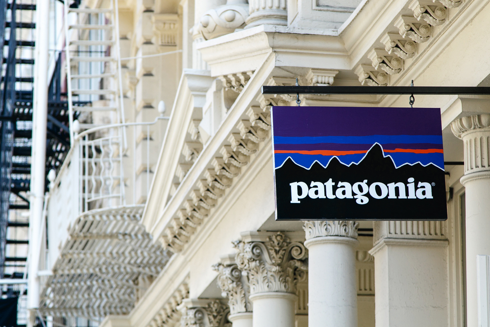 A Patagonia sign outside of a Patagonia retail store.