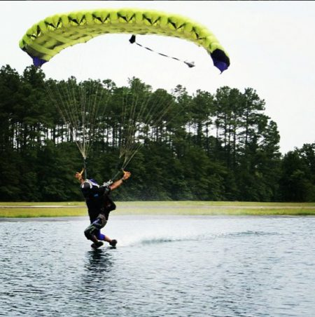 Julio swooping across the pond at Skydive Paraclete XP