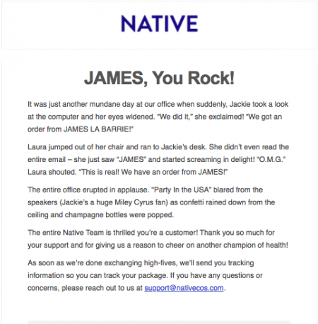 Confirmation e-mail from Native Deodorant