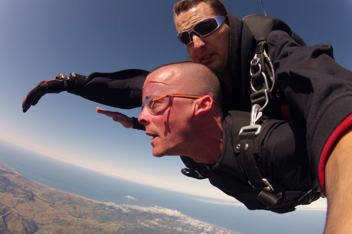 Making my first skydive with Jerry McGrew at age 33.