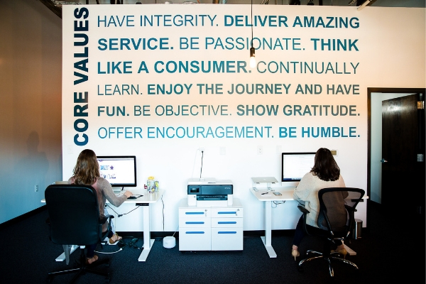 One of the walls at the Beyond Marketing office in Fort Mill showcasing our core values.