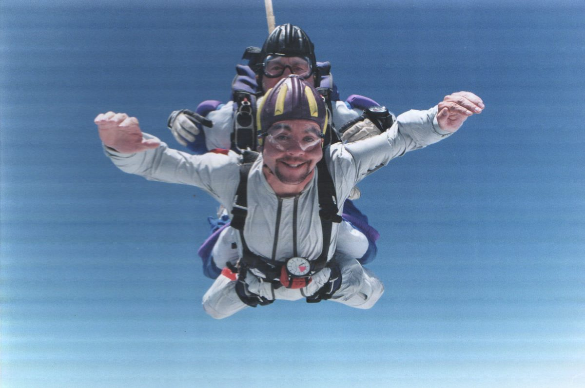 Tom Noonan makes his first tandem skydive.